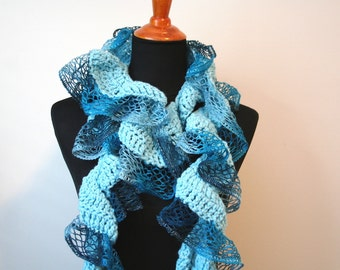 Curled Crochet Scarf, Shades of Blue; Blue Ruffle Scarf, Blue Curly Scarf, Curly Crochet Scarf, Fall Crochet Scarf, Spring Crochet Scarf
