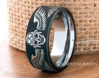 Black Tungsten Ring Wedding Band Tungsten Band Bikers Ring Tattoo Ring Tungsten Ring Mens Tungsten Ring Motorcycle Ring Anniversary Ring