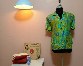 60s Blouse, Vintage greenish shirts, Ivan Fredericks Design Vintage Blouse For Women 1960s, Vintage blouse, Blouses, Retro,Size OS
