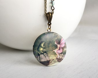 Fairytale Photo Locket Necklace, Pink Fairy Green Frog Whimsical Long Chain Locket Pendant, Keepsake Necklace, Woodland Nature Inspired