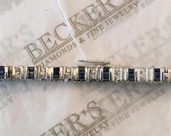 "Vintage 10k white gold bracelet Bar Set Baguette Blue Sapphires & Round Diamonds 3.75 tw, 7 1/8"", J-K-I1"
