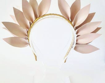 APOLLONIA PINK Leather Crown,Headband, Leather Flower Headpiece, Wedding Fascinator