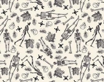 Skeletons on Cream Fabric / Eek Boo Shriek Fabric, by Riley Blake c6012 / Yardage and Fat Quarters / Halloween Fabric