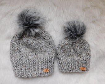 Matching hats.Mommy and Me hats. Mom/Son hats.Mom daughter hats. Mom and baby matching hats.Toddler hats.grey or black grizzly pom pom hats.
