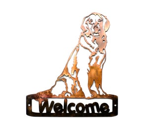 Sitting Golden Retriever Welcome Sign - CAN BE CUSTOMIZED!