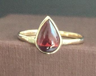 14k solid yellow gold, cabochon cut natural garnet, pear shaped, ring, dark red, January birthstone