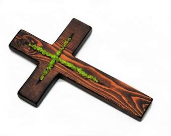 "11""x7"" Wooden crosses, cross decor, rustic cross, decorative cross, cross wall decor, christian gift, cross sign, christian cross, green"