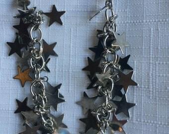 Silver Star Earring,Silver Star Dangle Earring,Star Dangle Earring,Star Earring,Dangle Drop Earring,Star Cluster Earring,Star Bead Earring