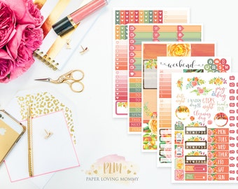 Mango Tango Weekly Kit | Planner Stickers | Floral Stickers | Planner Stickers designed for use with the Erin Condren Life Planner