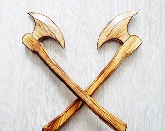 Russian medieval weapon wooden battleax, wooden toys for boys poleaxe