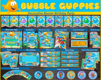 Bubble Guppies printable party kit, Bubble Guppies Party Birthday package, Guppies themed party kit, Party package, Bubble Guppies kit party
