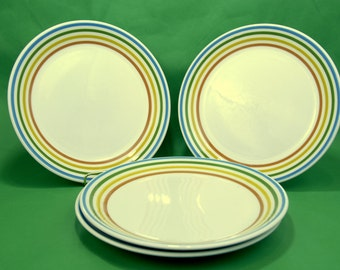 """Reserved 1975 Syracuse China """"Spectrum"""" Dinner Plates Rainbow Syralite Lot of 4  Made in USA"""