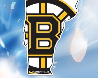 VT State Outline Sticker // Boston Bruins // Vermont Vinyl Bumper Stickers //