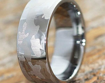 9mm camouflage tungsten wedding band camo ring military wedding band army ring - Military Wedding Rings