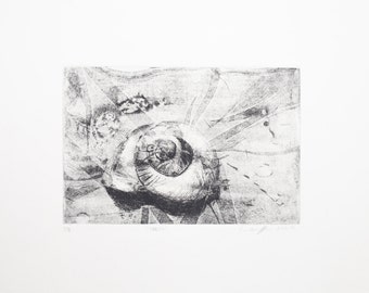 Shell 1/8 Intaglio print black and white