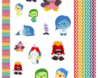 Emotions - Cute Cartoon Characters suitable for ECLP, Happy Planner, Filofax, Kikki K Etc - joy, sadness, core memories