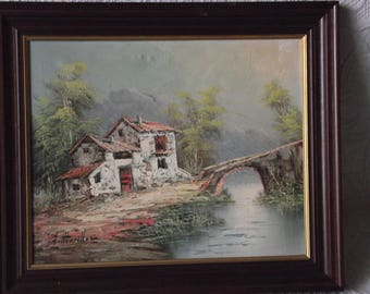 Oil or acrylic painting of European riverside rural cottage. Signed by the artist