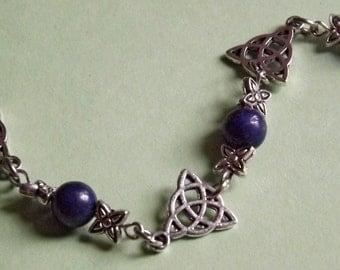 Celtic Triquetra and Lapis Lazuli Navy bracelet