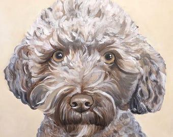 """Custom Acrylic Dog Portrait - 16""""x20"""" Large Custom Dog Painting"""