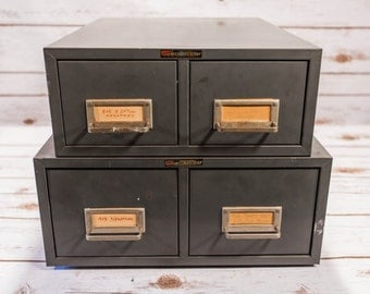Vintage ASCO Art Steel Metal Drawer Index Card Cabinet Gray Industrial File Library Cabinet Box Two Tier Double Drawer