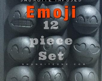 12 PIECE SET Shungite Emoji resin magnets. Strong 6mm x 3mm N50  Neodymium Magnets.