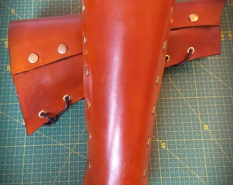 Brown Leather Gauntlets, Fantasy Leather Gauntlet, Leather Bracers Armguards, LARP Cosplay Armor, Arm Guards Cosplay, Folk metal Gauntlet