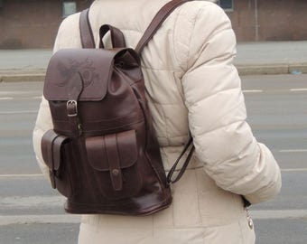 "Women's leather backpack Natalia Kalinovskaya ""Vanilla"""