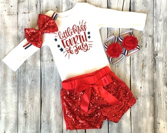 Little miss fourth of july outfit, baby girls 4th of july outfit, 4th of july, fourth of july, bodsuit, shirt, newborn, 1st 4th july