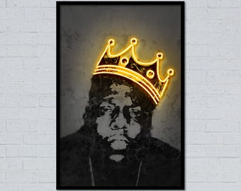 Big art big print notorious art big poster street art neon art graffiti art stencil art music art home decor gift for him neon print wall