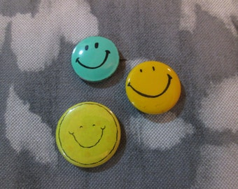 Vintage Set of 3 Happy Smiley Face Pinback Buttons Pins