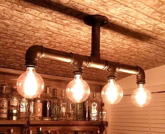 Industrial pipe chandelier ceiling four edison bulbs black for Pipe ceiling lighting