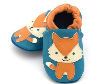 Fox baby shoes for baby boy, leather baby shoes, baby slippers, crib shoes, baby booties, baby shower gift