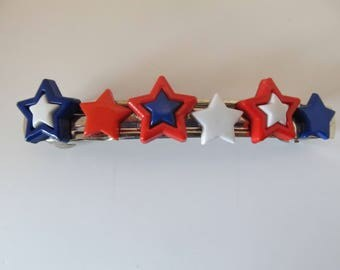 4th of July Stars Patriotic Barrette, Birthday Gift, Gifts for her, Gifts for girls, Gifts for teens, Button Barrettes, Hair Accessories