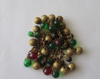 Vintage Dangle Brooch Glass Brass Beads  Pin  Fantastically Fun!