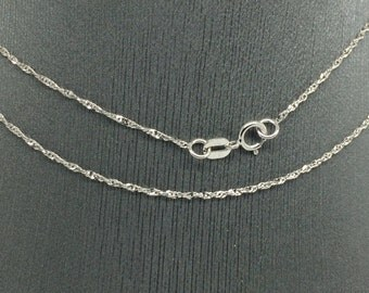 14K White Gold Diamond Cut Twist Chain