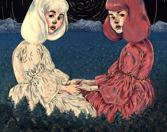 Rose Red and Snow White //Original Art Print // Fine Art Print