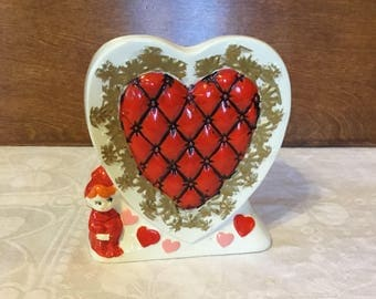 Vintage Rubens Pixie Elf Ceramic Heart Valentines Painted Vase Planter 6158V Made in Japan