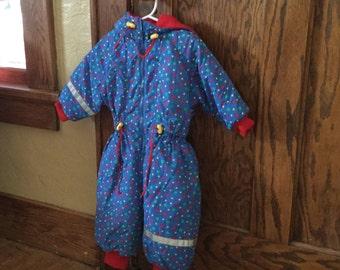 1990s Toddler Snowsuit - Geometric Pattern Snowsuit - Primary Colors - Hanna Anderson - Size 2T