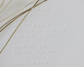 SENNA - minimalist letterpress wedding invitation