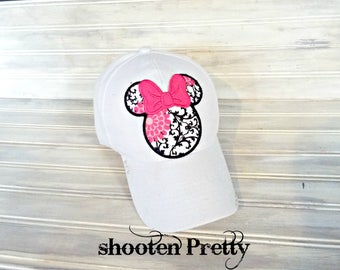 FREE SHIPPING* White baseball cap with fabric print  Minnie Mouse silhouette and pink bow