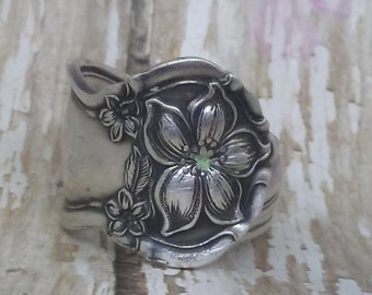 Vintage Spoon Ring, Orange Blossom Spoon Ring 1910 , Silverware, SPOON RING, all sizes, Sterling plated