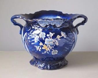 Antique Art Nouveau Cobalt Blue Majolica Planter Jardiniere Signed