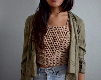 Crochet Festival Crop Top | Halter Top | Lace Up | Nude Top