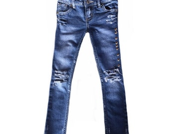 Distressed denim Studded denim toddler girl jeans Girl clothes Girl's jeans Toddler girl clothes Size 5T Girl's skinny jeans Cool kid pants