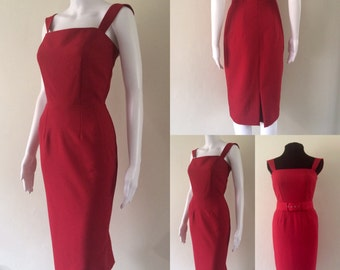 Red vintage inspired dress. Sizes 2 - 12 US. Pencil dress, cocktail dress, wiggle dress, pinup, 50s dress, Audrey, Marilyn, womens clothing