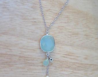 Sterling Silver Aqua & Pearl pendant | Charm pendant | Unique Aqua pendant | March birthstone | Briolette pendant  |  Hanging charm pendant