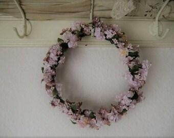 Nostalgic vintage fabric flower wreath pastellrosée oared millinery flowers boudoir bohemian shabby chic
