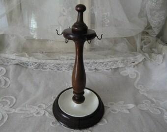 Vintage jewelry stand antique wood / enamel boudoir franske danske shabby chic