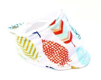 Feather Bandana Bib, Drool Bib,  Baby Gift, Baby Girl Bib, Feather Fabric, Absorbent Bandana Bib, Adjustable Bib, Feather Drool Bib, Feather
