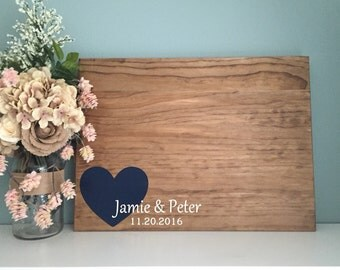 Rustic Wedding Guest Book Alternative / The Original Corner Heart Design / Painted Rustic Wedding Decor Guest Sign In Wood Sign Large